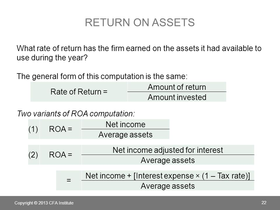 RETURN ON ASSETS What rate of return has the firm earned on the assets it had available to use during the year? The general form of this computation i