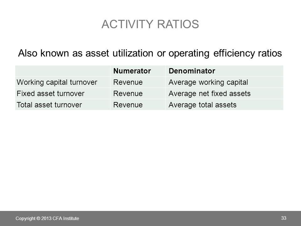 ACTIVITY RATIOS NumeratorDenominator Working capital turnoverRevenueAverage working capital Fixed asset turnoverRevenueAverage net fixed assets Total