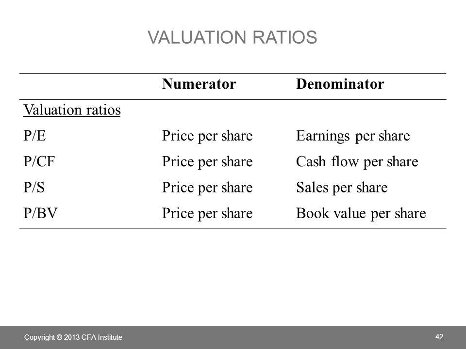 VALUATION RATIOS NumeratorDenominator Valuation ratios P/EPrice per shareEarnings per share P/CFPrice per shareCash flow per share P/SPrice per shareS