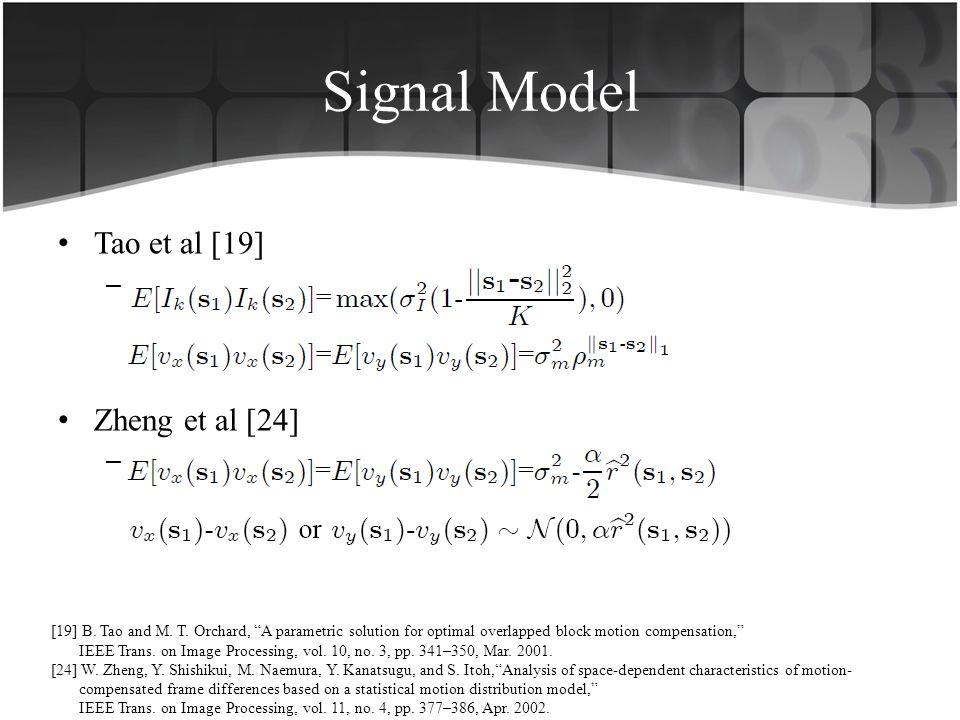 Signal Model Tao et al [19] –. Zheng et al [24] –. [19] B. Tao and M. T. Orchard, A parametric solution for optimal overlapped block motion compensati