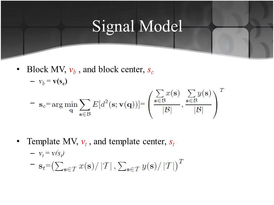 Signal Model Block MV, v b, and block center, s c – v b = v(s c ) –. Template MV, v t, and template center, s t – v t = v(s t ) –.