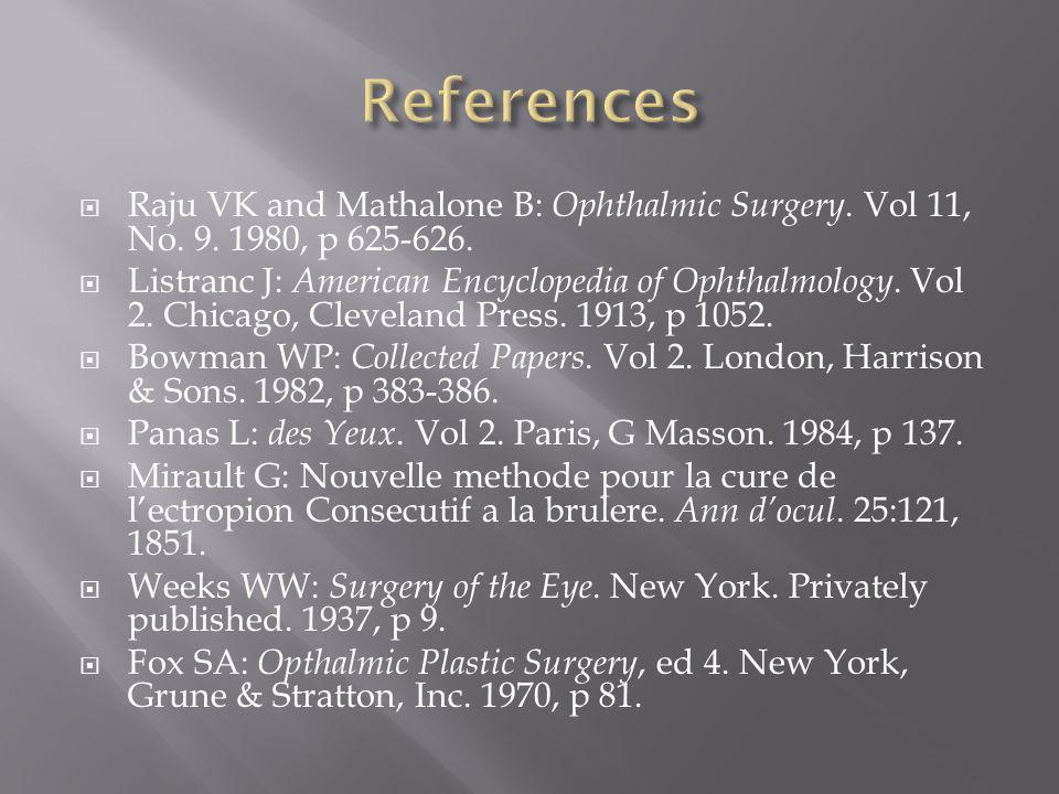 Raju VK and Mathalone B: Ophthalmic Surgery. Vol 11, No. 9. 1980, p 625-626. Listranc J: American Encyclopedia of Ophthalmology. Vol 2. Chicago, Cleve