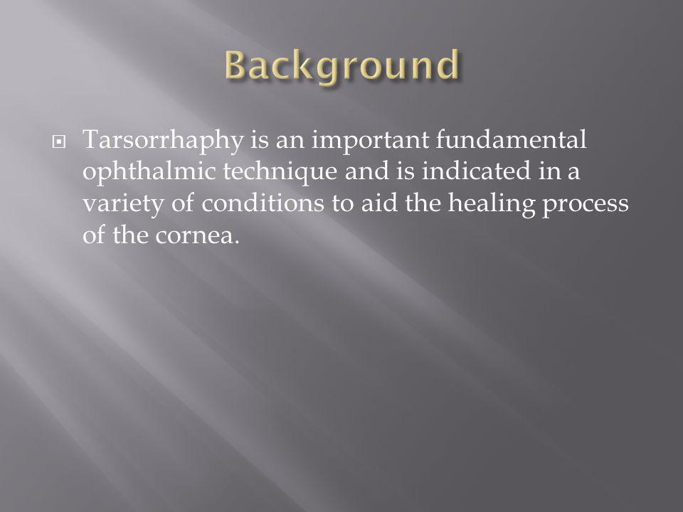 To describe a simple, bloodless method of tarsorrhaphy that can be perfomed safely and efficiently in any setting, e.g.