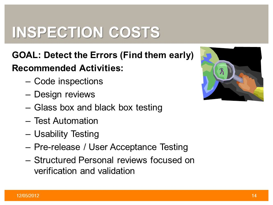 INSPECTION COSTS GOAL: Detect the Errors (Find them early) Recommended Activities: –Code inspections –Design reviews –Glass box and black box testing –Test Automation –Usability Testing –Pre-release / User Acceptance Testing –Structured Personal reviews focused on verification and validation 12/05/201214