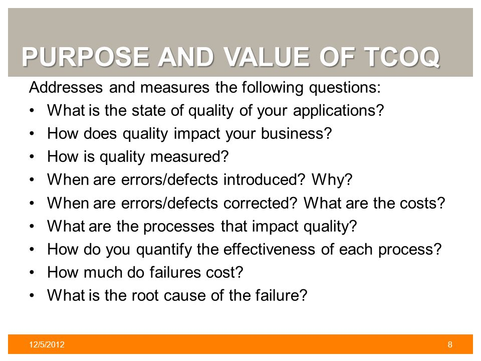 PURPOSE AND VALUE OF TCOQ Addresses and measures the following questions: What is the state of quality of your applications.