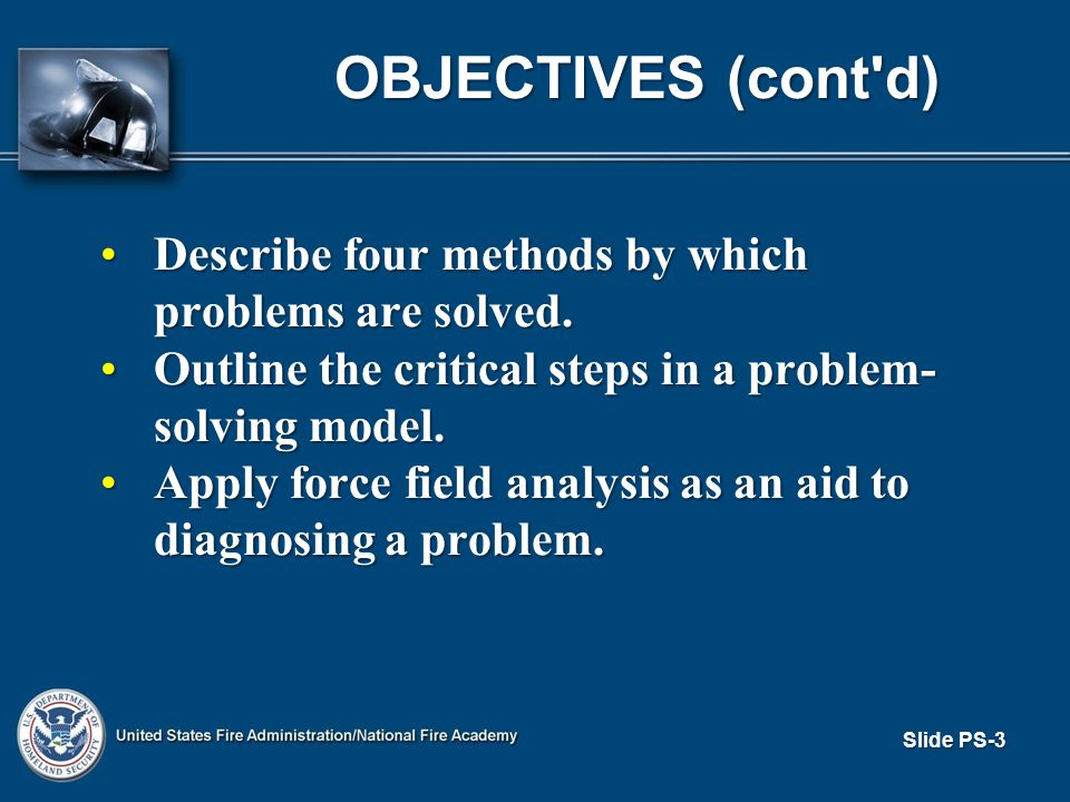 Slide PS-3 OBJECTIVES (cont d) Describe four methods by which problems are solved.Describe four methods by which problems are solved.