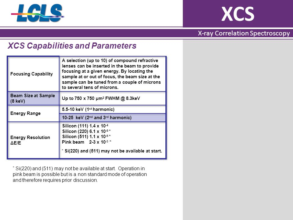 XCS X-ray Correlation Spectroscopy XCS Capabilities and Parameters * Si(220) and (511) may not be available at start. Operation in pink beam is possib