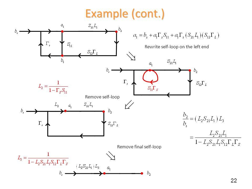 Example (cont.) 22 Remove self-loop Rewrite self-loop on the left end Remove final self-loop
