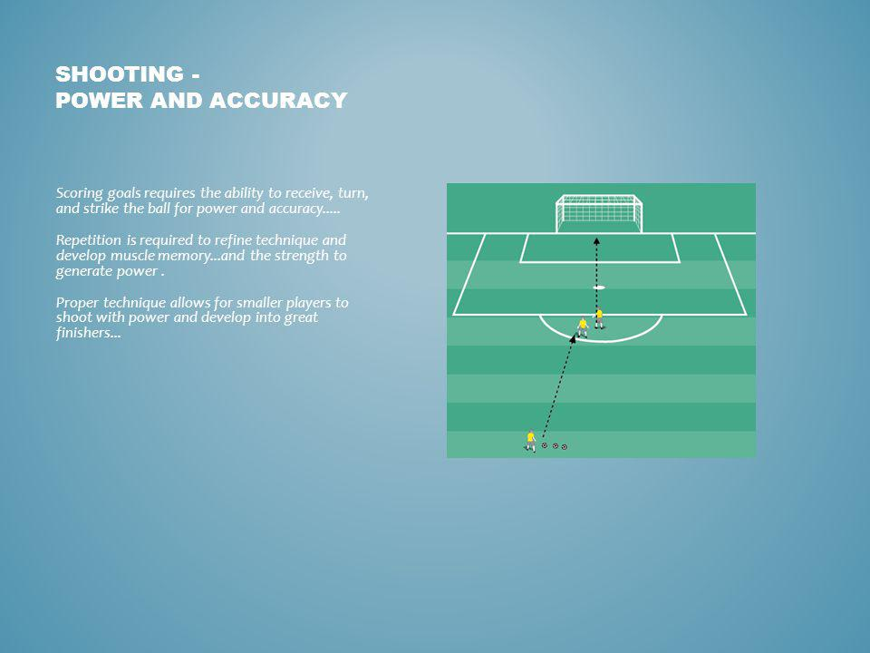 SHOOTING - POWER AND ACCURACY Scoring goals requires the ability to receive, turn, and strike the ball for power and accuracy.....