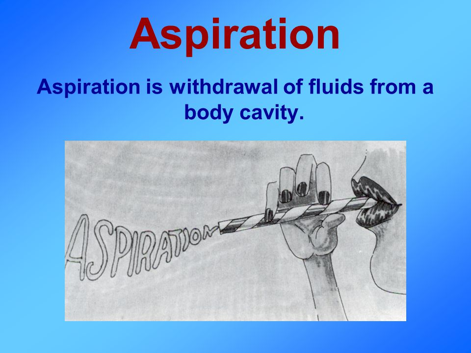 Aspiration Aspiration is withdrawal of fluids from a body cavity.