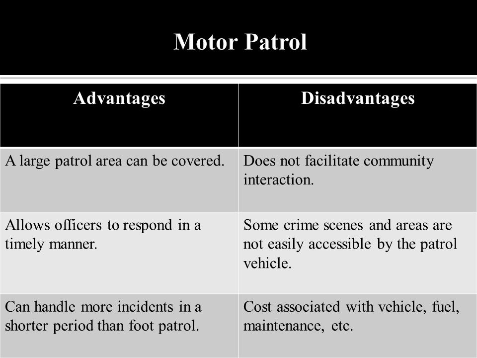 AdvantagesDisadvantages A large patrol area can be covered.Does not facilitate community interaction.
