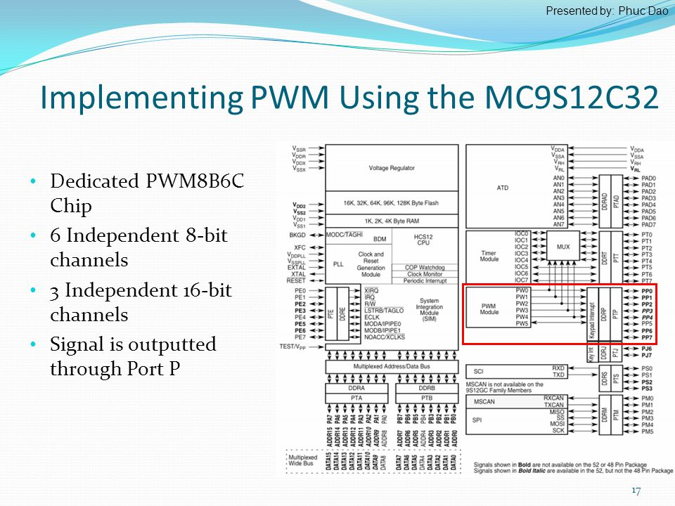 Implementing PWM Using the MC9S12C32 17 Dedicated PWM8B6C Chip 6 Independent 8-bit channels 3 Independent 16-bit channels Signal is outputted through Port P Presented by: Phuc Dao