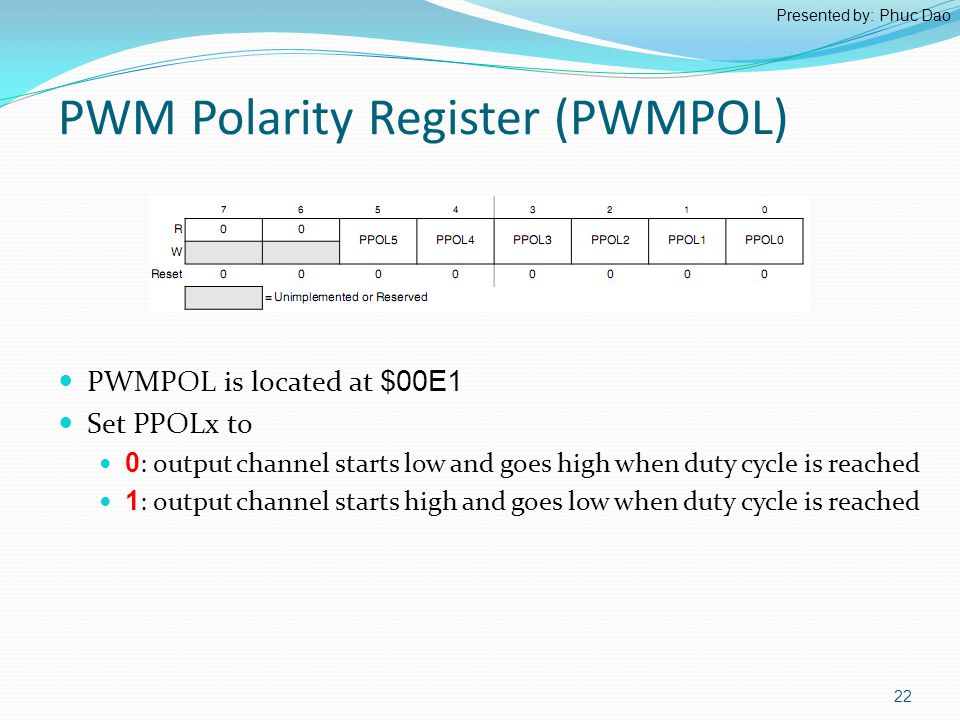 PWM Polarity Register (PWMPOL) PWMPOL is located at $00E1 Set PPOLx to 0 : output channel starts low and goes high when duty cycle is reached 1 : output channel starts high and goes low when duty cycle is reached 22 Presented by: Phuc Dao