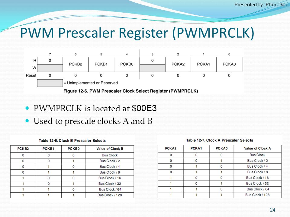 PWM Prescaler Register (PWMPRCLK) PWMPRCLK is located at $00E3 Used to prescale clocks A and B 24 Presented by: Phuc Dao