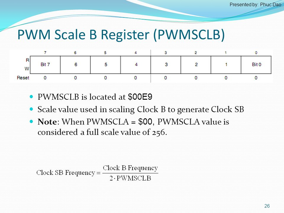 PWMSCLB is located at $00E9 Scale value used in scaling Clock B to generate Clock SB Note: When PWMSCLA = $00, PWMSCLA value is considered a full scale value of 256.