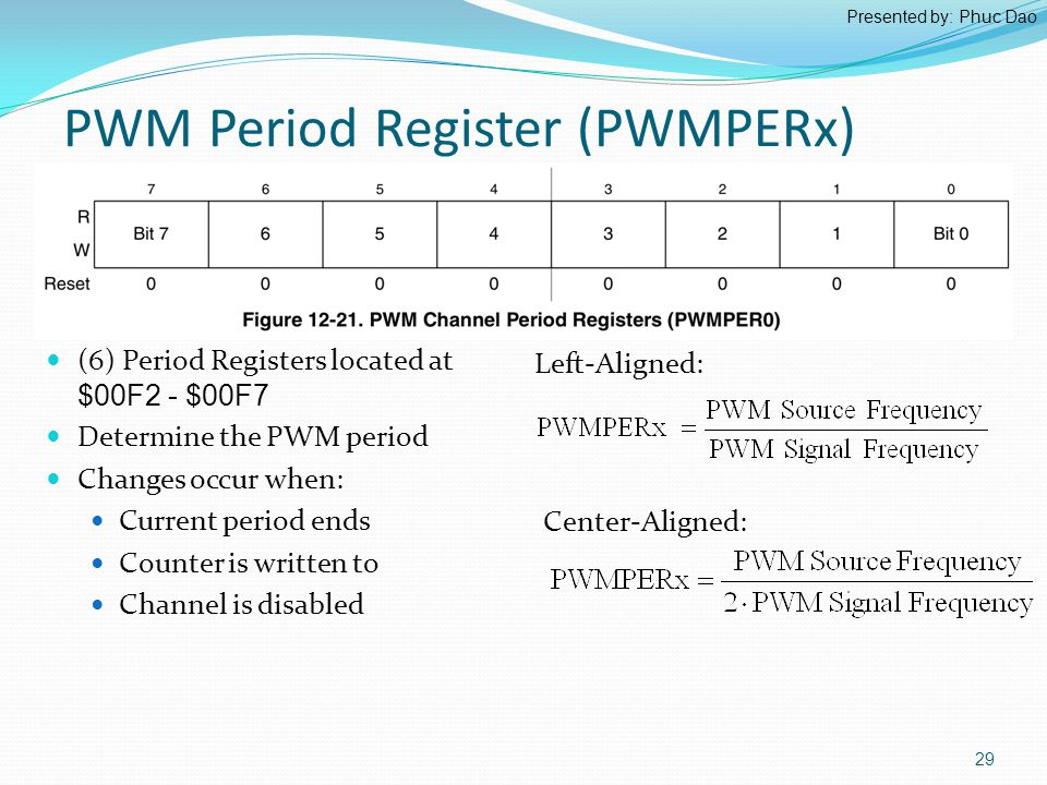 PWM Period Register (PWMPERx) (6) Period Registers located at $00F2 - $00F7 Determine the PWM period Changes occur when: Current period ends Counter is written to Channel is disabled Left-Aligned: Center-Aligned: 29 Presented by: Phuc Dao