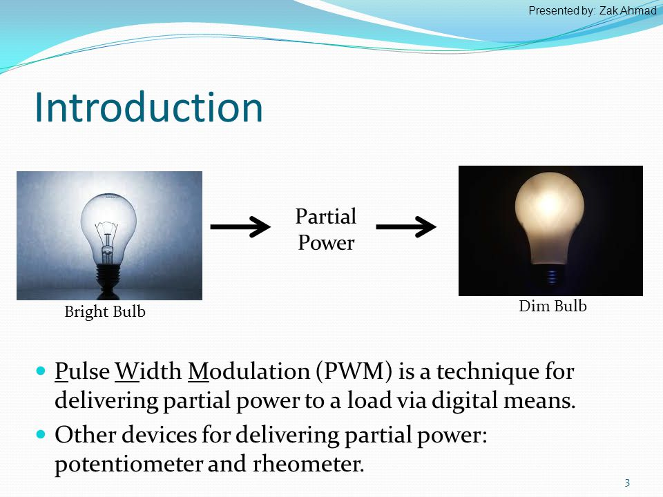 Introduction Pulse Width Modulation (PWM) is a technique for delivering partial power to a load via digital means.