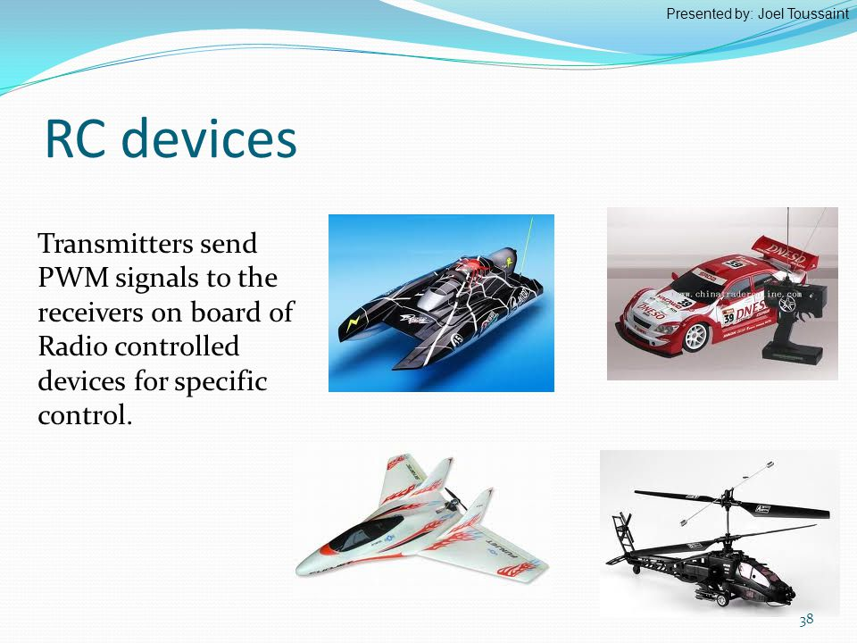 Transmitters send PWM signals to the receivers on board of Radio controlled devices for specific control.