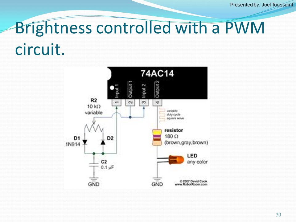 Brightness controlled with a PWM circuit. Presented by: Joel Toussaint 39
