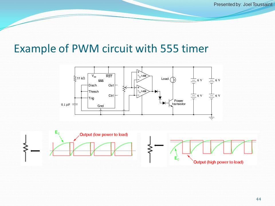 Example of PWM circuit with 555 timer Presented by: Joel Toussaint 44