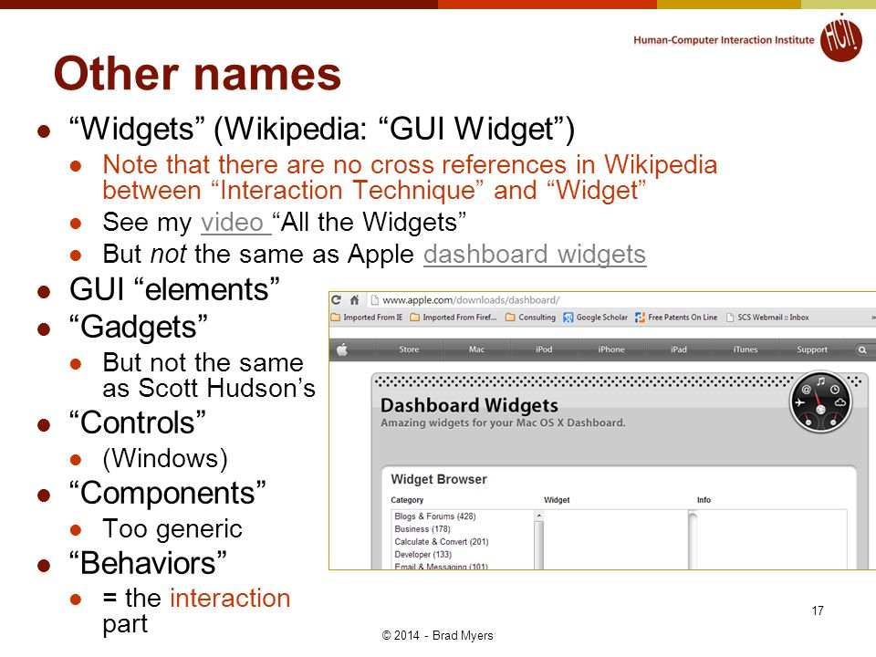 Other names Widgets (Wikipedia: GUI Widget) Note that there are no cross references in Wikipedia between Interaction Technique and Widget See my video