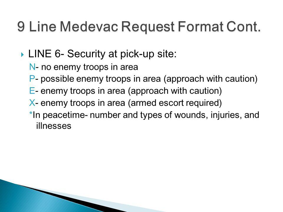 LINE 6- Security at pick-up site: N- no enemy troops in area P- possible enemy troops in area (approach with caution) E- enemy troops in area (approac