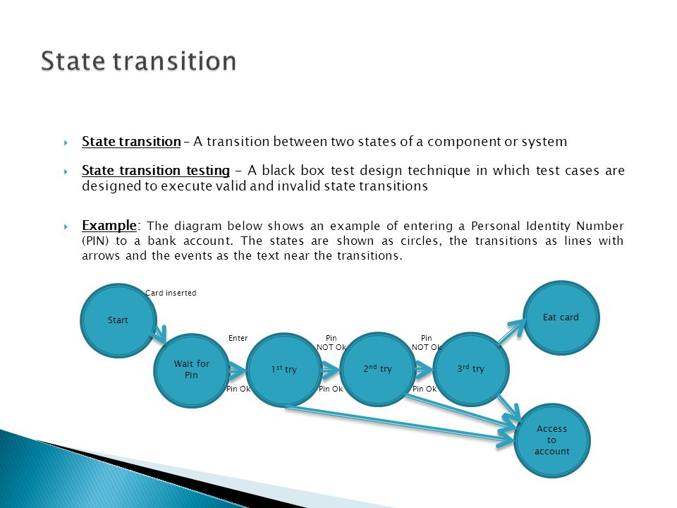 State transition – A transition between two states of a component or system State transition testing – A black box test design technique in which test cases are designed to execute valid and invalid state transitions Example: The diagram below shows an example of entering a Personal Identity Number (PIN) to a bank account.