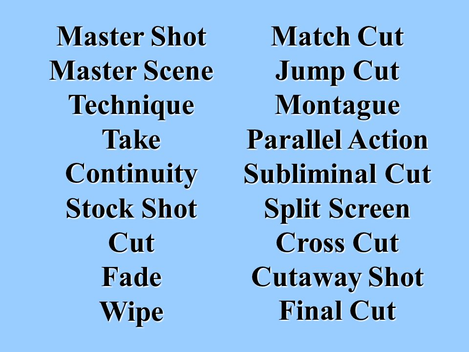 Examples of Cross-Cutting In The Godfather, during Michael s nephew s baptism, we see the priest performs the sacrament of baptism at the same time the film cross –cuts so we see killings ordered by Michael take place elsewhere.