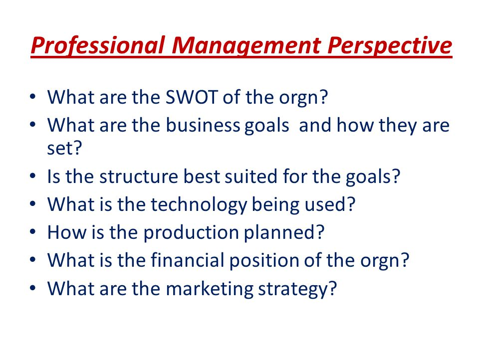 Professional Management Perspective What are the SWOT of the orgn? What are the business goals and how they are set? Is the structure best suited for