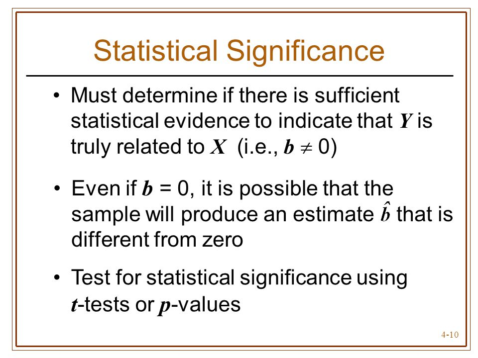 4-10 Statistical Significance Must determine if there is sufficient statistical evidence to indicate that Y is truly related to X (i.e., b 0) Even if