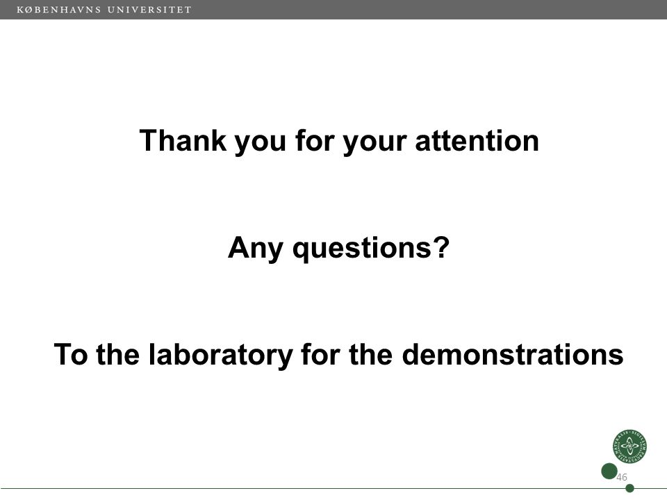Thank you for your attention Any questions? To the laboratory for the demonstrations 46