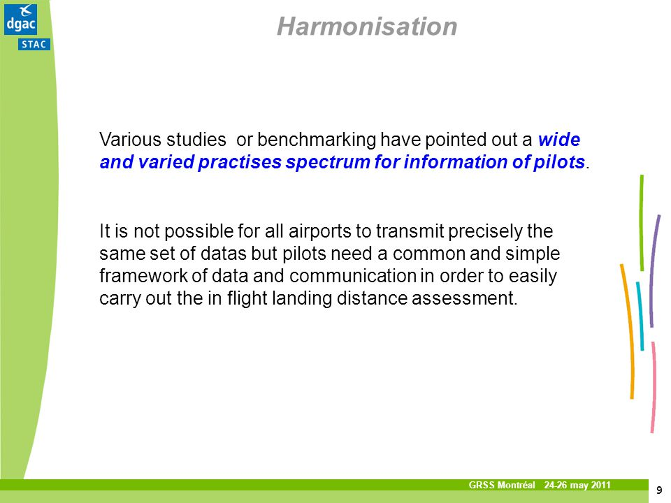 9 9 Titre de la présentation Service technique de laviation civile GRSS Montréal 24-26 may 2011 Harmonisation Various studies or benchmarking have poi