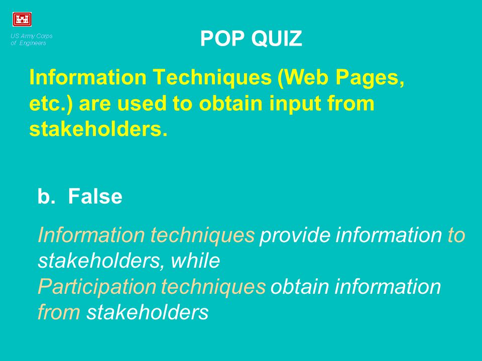 Information Techniques (Web Pages, etc.) are used to obtain input from stakeholders.
