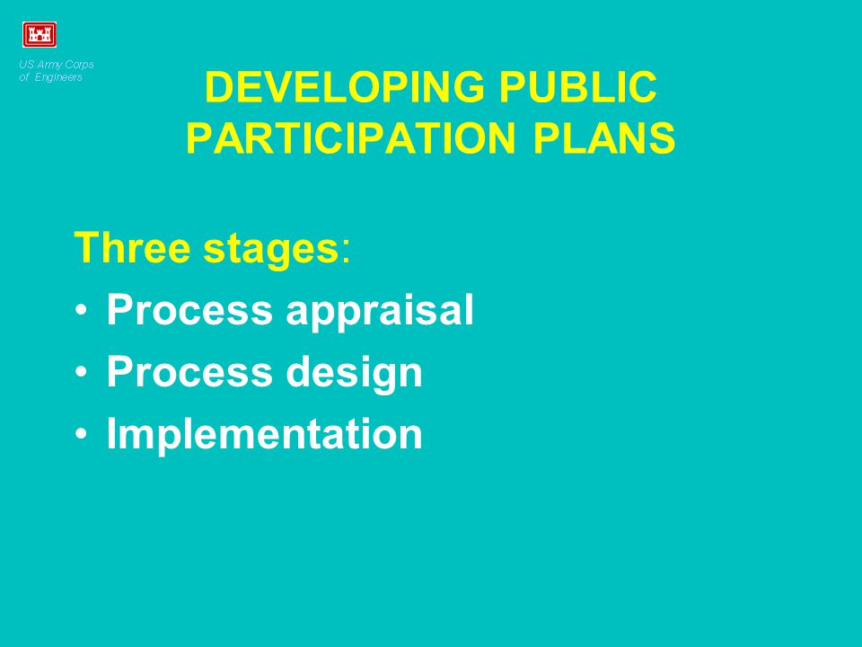 DEVELOPING PUBLIC PARTICIPATION PLANS Three stages: Process appraisal Process design Implementation
