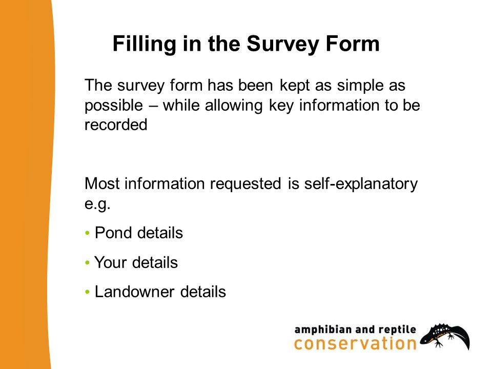 Filling in the Survey Form The survey form has been kept as simple as possible – while allowing key information to be recorded Most information reques