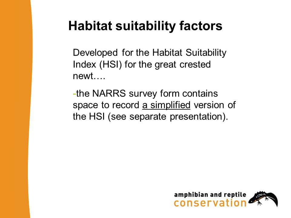 Habitat suitability factors Developed for the Habitat Suitability Index (HSI) for the great crested newt….