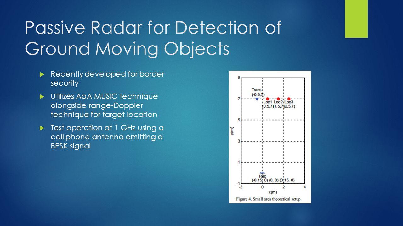 Passive Radar for Detection of Ground Moving Objects Recently developed for border security Utilizes AoA MUSIC technique alongside range-Doppler techn