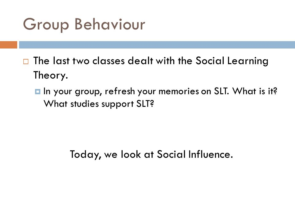 Group Behaviour The last two classes dealt with the Social Learning Theory.