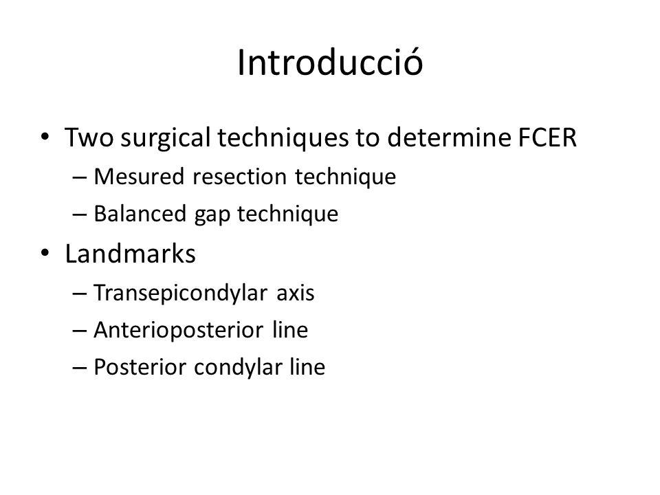Introducció Two surgical techniques to determine FCER – Mesured resection technique – Balanced gap technique Landmarks – Transepicondylar axis – Anter