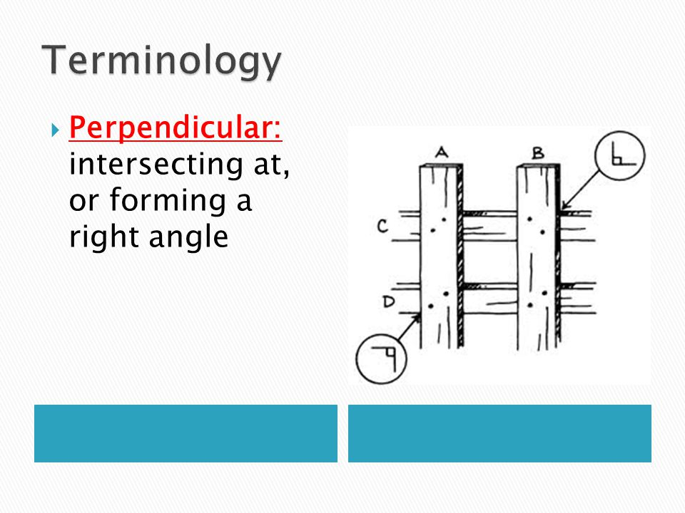Perpendicular: intersecting at, or forming a right angle