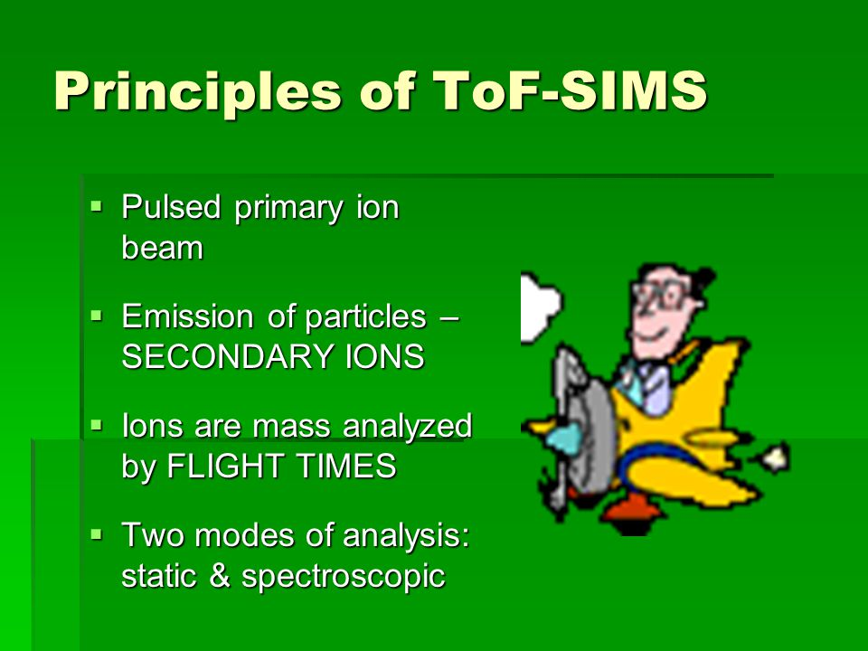 Principles of ToF-SIMS Pulsed primary ion beam Pulsed primary ion beam Emission of particles – SECONDARY IONS Emission of particles – SECONDARY IONS I