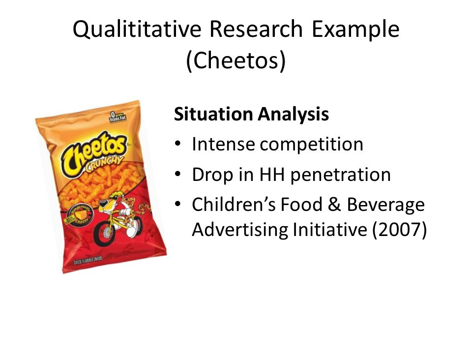 Qualititative Research Example (Cheetos) Situation Analysis Intense competition Drop in HH penetration Childrens Food & Beverage Advertising Initiative (2007)