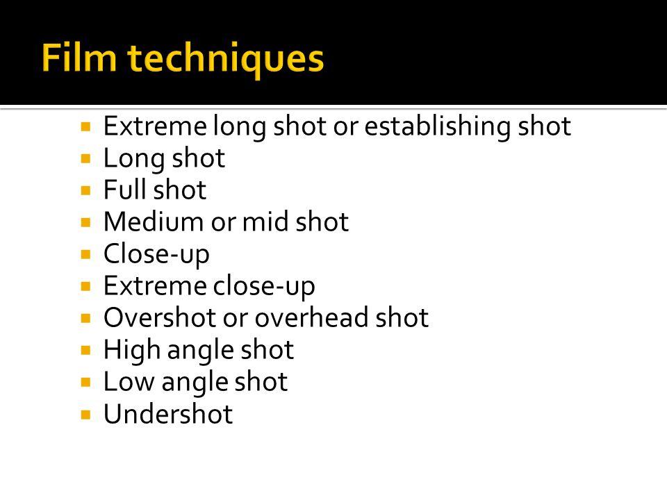 Extreme long shot or establishing shot Long shot Full shot Medium or mid shot Close-up Extreme close-up Overshot or overhead shot High angle shot Low angle shot Undershot