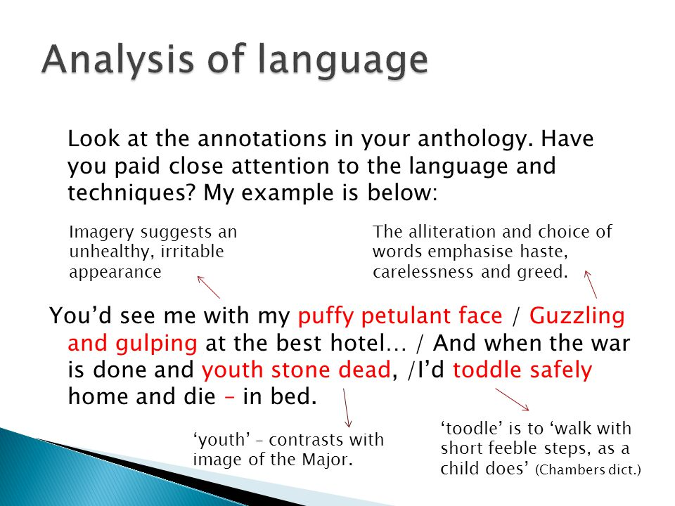 Look at the annotations in your anthology. Have you paid close attention to the language and techniques? My example is below: Youd see me with my puff
