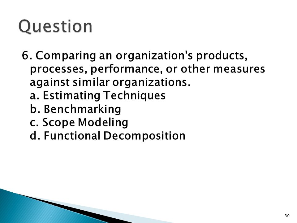 6. Comparing an organization's products, processes, performance, or other measures against similar organizations. a. Estimating Techniques b. Benchmar