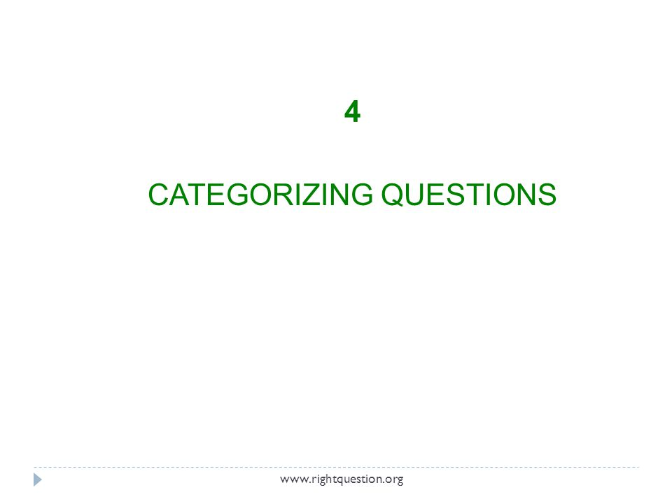 4 CATEGORIZING QUESTIONS www.rightquestion.org