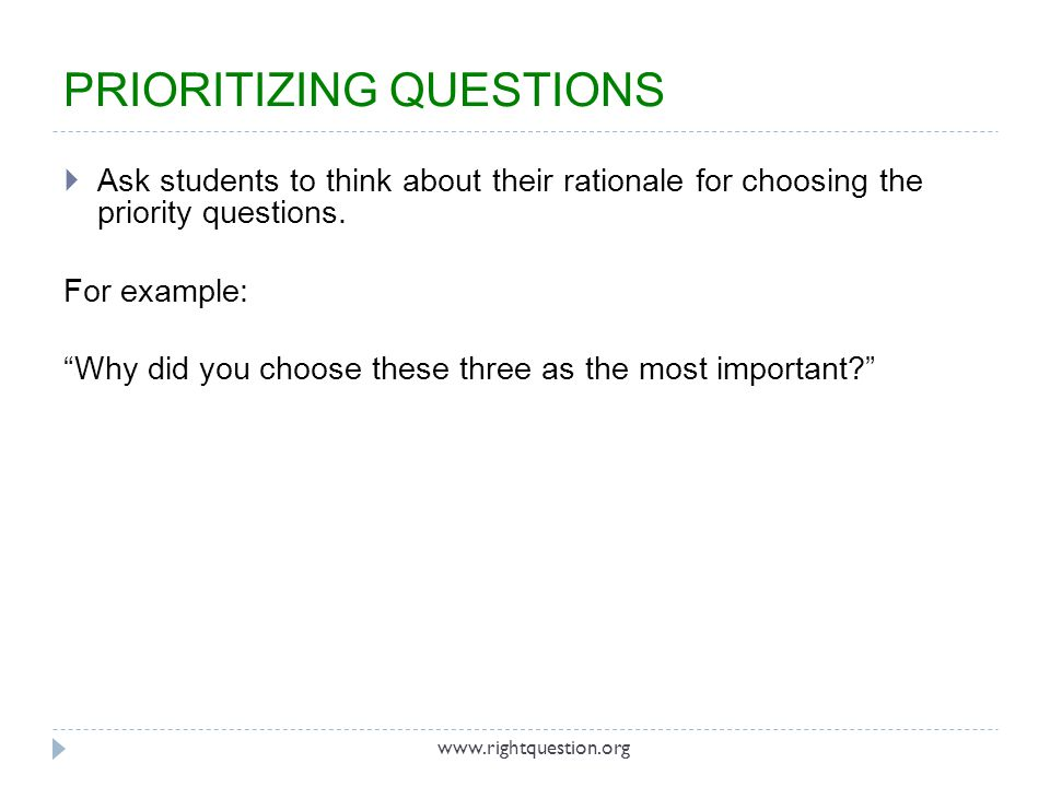 Ask students to think about their rationale for choosing the priority questions. For example: Why did you choose these three as the most important? PR