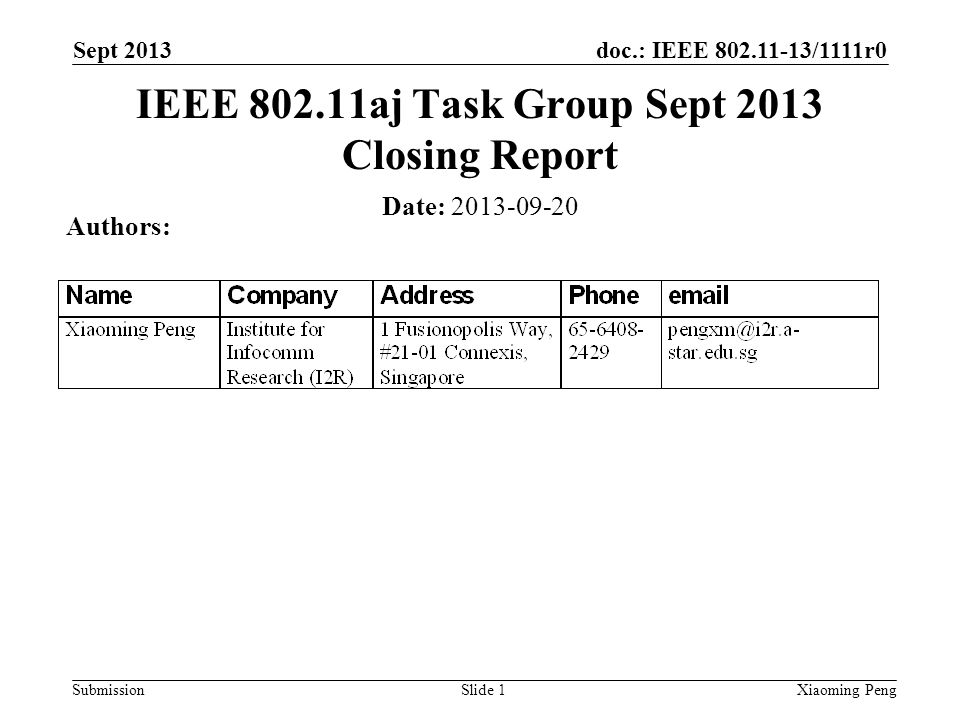 doc.: IEEE 802.11-13/1111r0 Submission Sept 2013 Xiaoming PengSlide 1 Date: 2013-09-20 Authors: IEEE 802.11aj Task Group Sept 2013 Closing Report