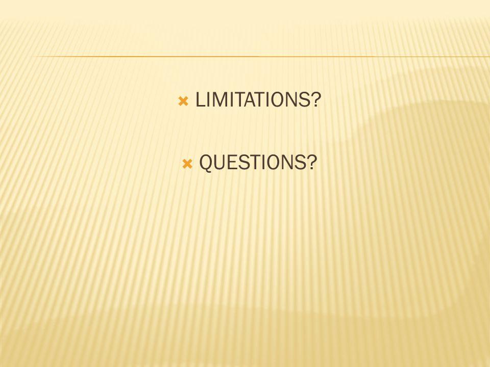 LIMITATIONS? QUESTIONS?