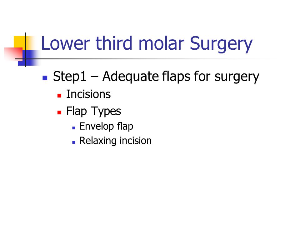 Lower third molar Surgery Step1 – Adequate flaps for surgery Incisions Flap Types Envelop flap Relaxing incision
